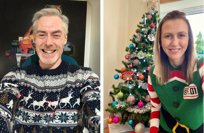 Kate and David in Christmas Jumper